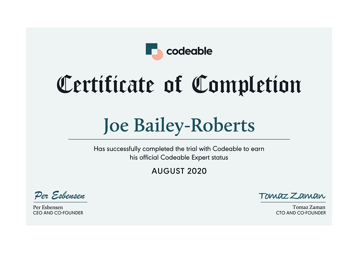 I'm proud to have become an official Codeable expert in August 2020